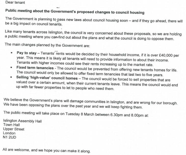 Islington Councils letter totenants