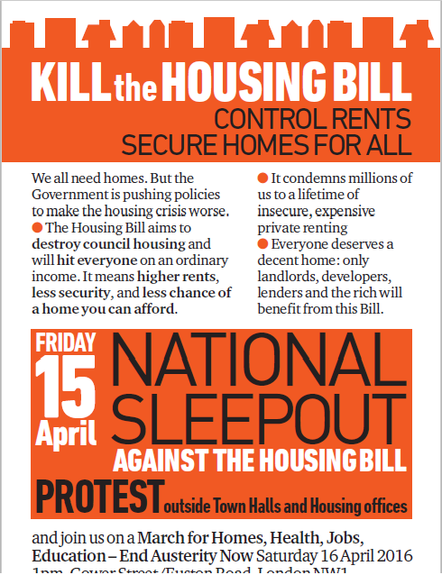 National Sleep Out & March with the Homeless: Friday April 15th